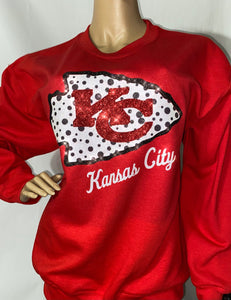 Chiefs Polka Dot Crew Neck Sweatshirt (front only)