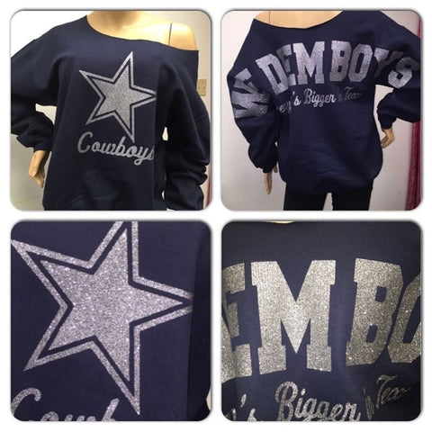 Cowboys Dem Boys Oversized Print Sweatshirt ( Front & back)