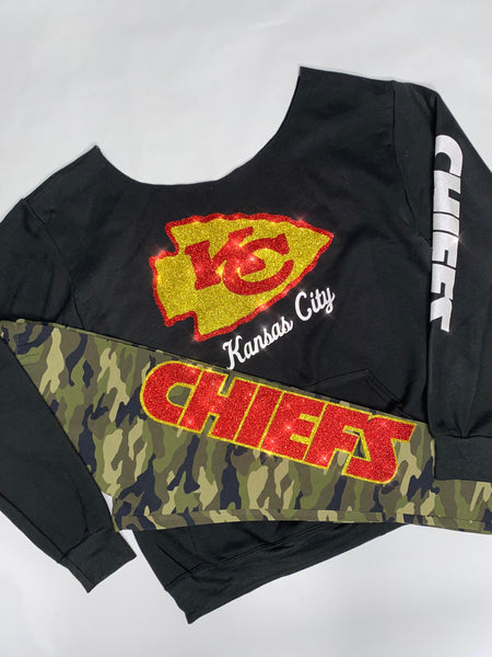 LIMITED EDITION: Chiefs Green Camo off the Shoulder 2pc Set