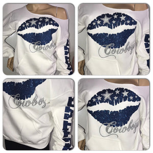 Cowboys Lips Off the shoulder Sweatshirt (front only)