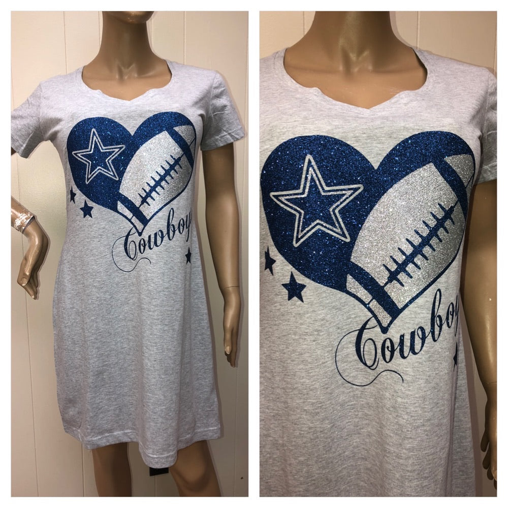 Cowboys Grey Glam T-shirt Dress