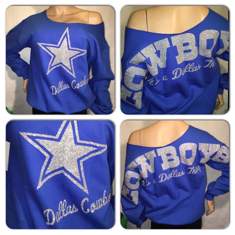 Cowboys Royal Star Oversized Print Sweatshirt ( Front & back)