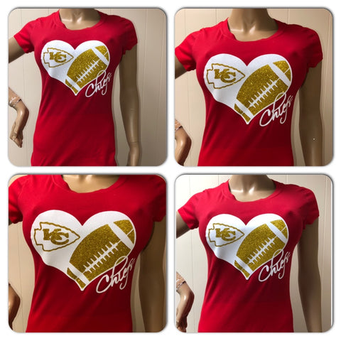 Chiefs Football Heart TShirt