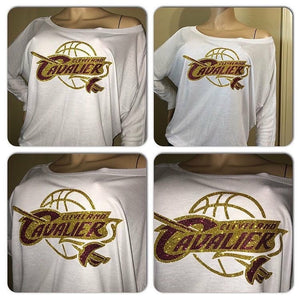 Cavs Flowey off the shoulder Glam Tshirt
