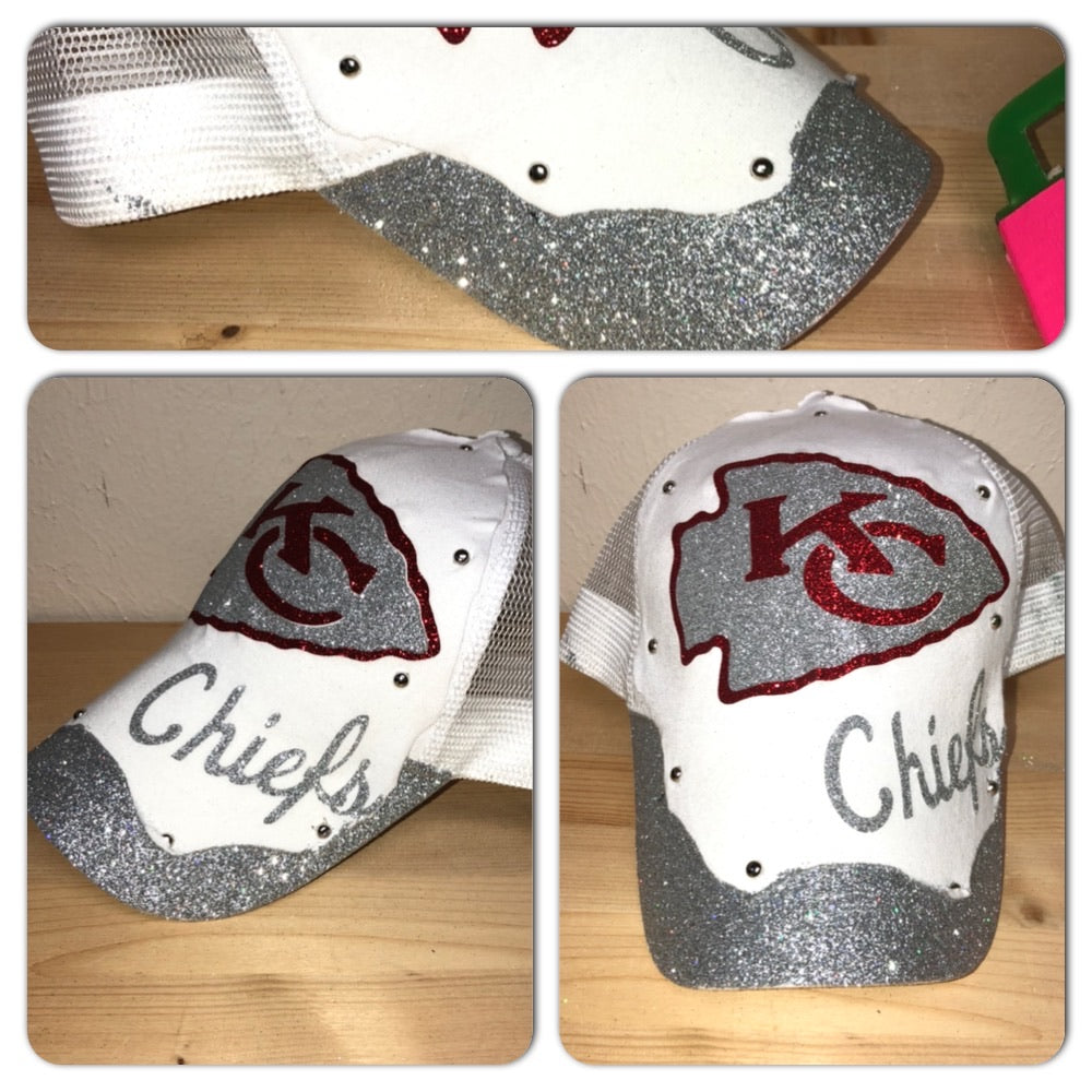 Chiefs White Glam Glitter trucker hat