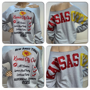 Chiefs Super bowl Oversized Print Sweatshirt ( Front & back)