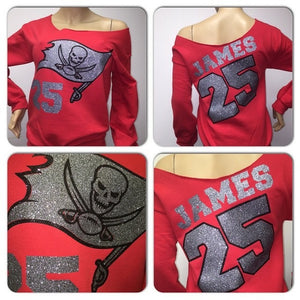 Bucs personalized Off the Shoulder Sweatshirt