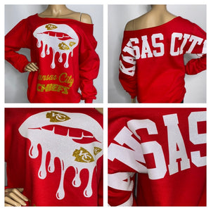 Chiefs Red Lips Oversized Print Sweatshirt ( Front & back)