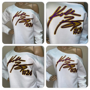 Kobe Bryant 24 Glam off the shoulder Bling Sweatshirt