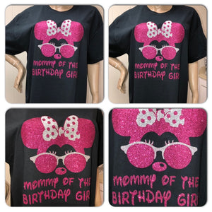 Disney Mom Neon Glitter Birthday unisex crew neck