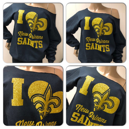 Saints I Heart I Off the Shoulder Sweatshirt