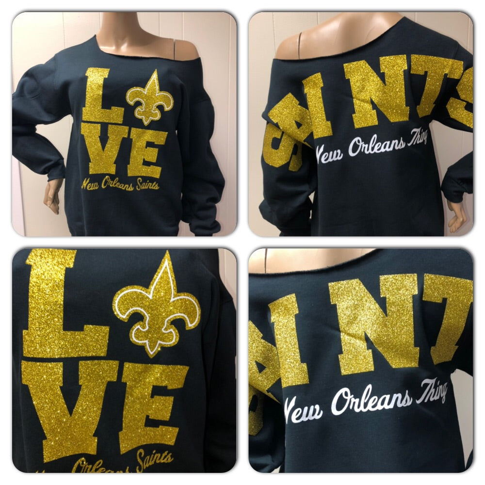 Saints Love Oversized Print Sweatshirt