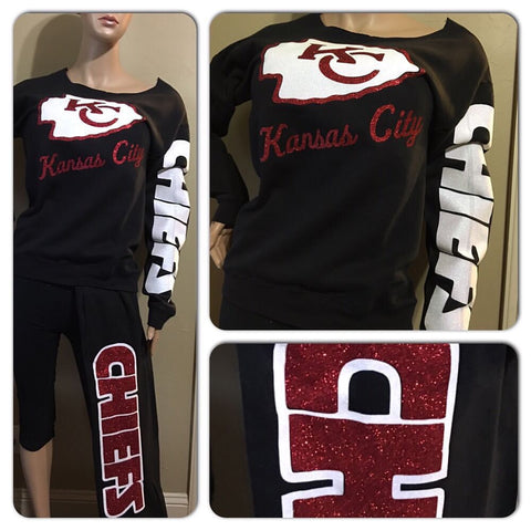 Kansas City Chiefs glitter 2 pc sweatsuit