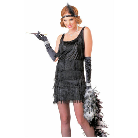 1920's Fashionable Flapper Black Fancy Dress Women's Costume Gatsby + Headband
