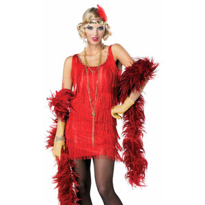 1920's Gatsby Flapper Dress RED Fancy Costume + Sequin Headband
