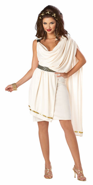 Deluxe Classic Women's Roman Toga Women's Fancy Dress Costume