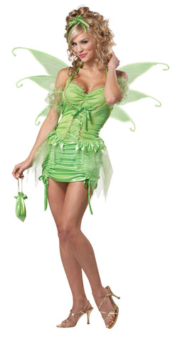 Tinkerbell Fairy Pixie Deluxe Women's Fancy Dress Costume + Wings