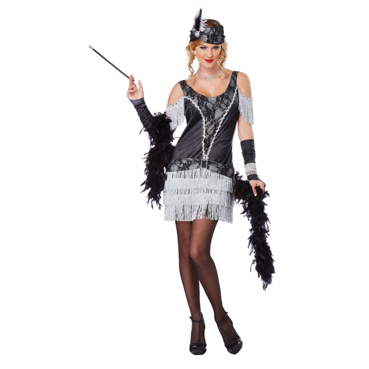 1920's Razzle Dazzle Glamorous Flapper Fancy Dress Costume with gloves