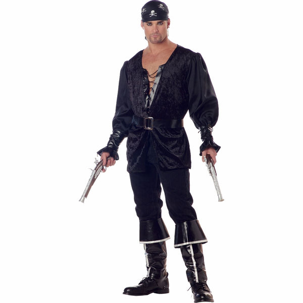 Blackheart Black Pirate Swashbuckler Buccaneer Men's Fancy Dress Costume