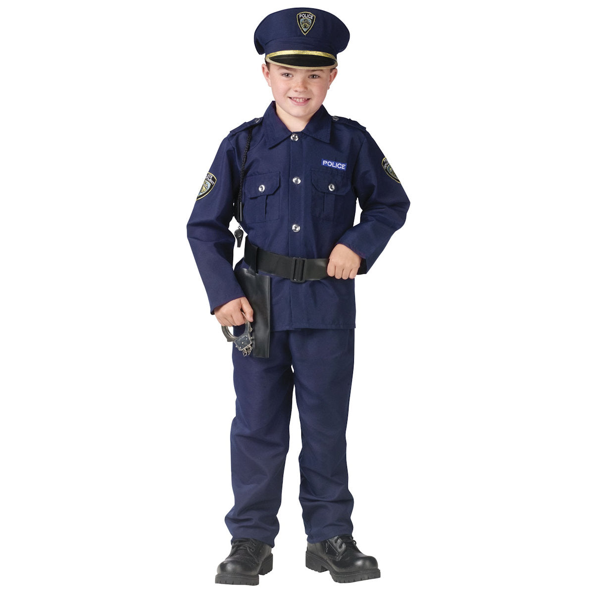 Policeman Deluxe Police Boy's fancy Dress Costume complete with hat