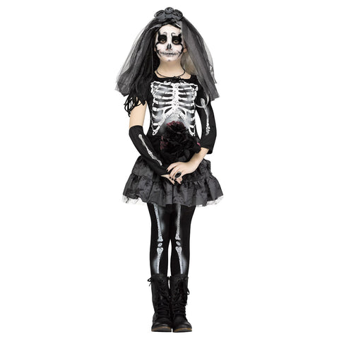 Skeleton Bride Day Of the Dead Girls Halloween Costume Fancy Dress