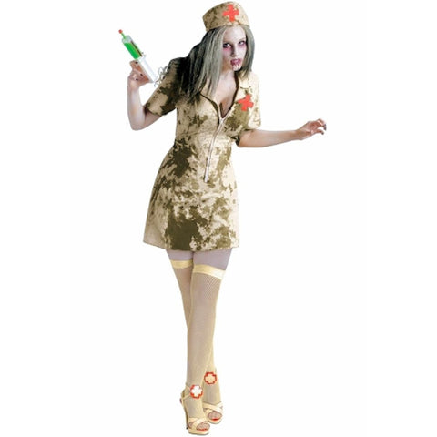 Walking Dead Zombie Dirty Nurse + Syringe womens Halloween fancy dress costume