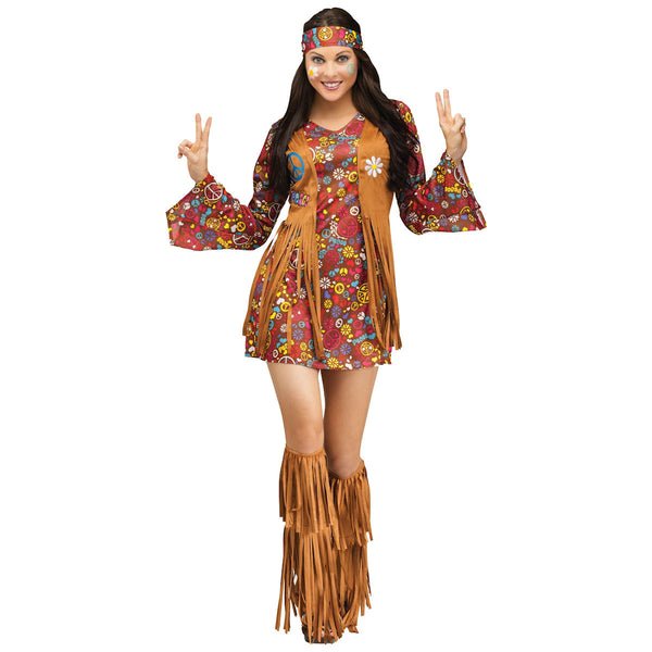 60's 70's Peace & Love Hippie Women's Flower Power Hippy Fancy Dress Costume