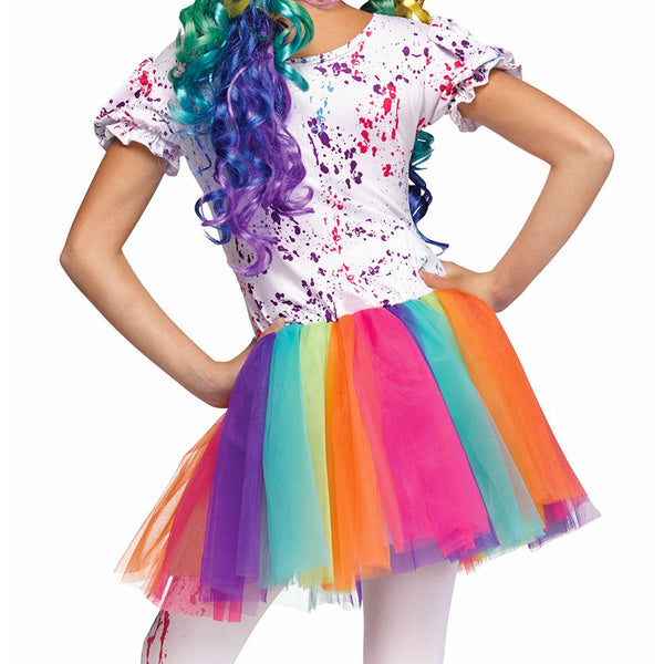 Crazy Colourful Happy Clown Girls Fancy Dress Costume with Hat