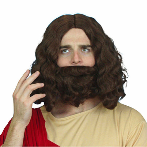 Jesus Moses Noah Wig & Beard Set Wizard Fancy Dress Party WIG