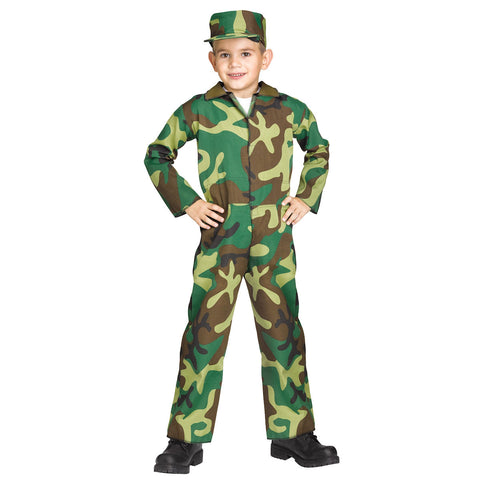 Commando Army Soldier Jungle Camoflauge Boy's Costume Authentic Issue