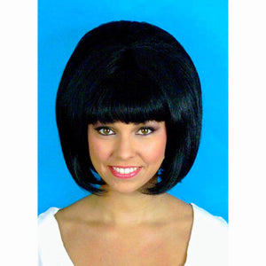 60's Beehive Hairspray Black Hair Wig Women's