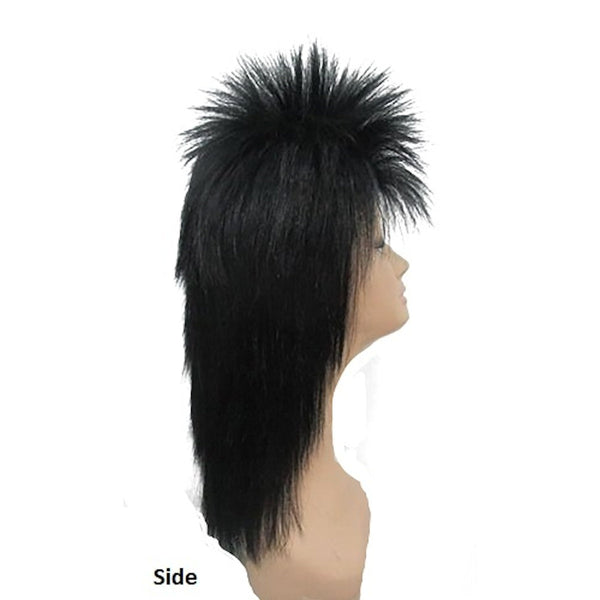 80's Spiky Poita Black Mullet Rock Star WIG Men's Costume Wig