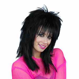 1980's Shaggy Layered Black wig - Unisex Sheena Easton Rocktar Costume Wig