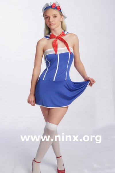 SAILOR COSTUME fancy dress ladies costume Strapless Dress 4 piece