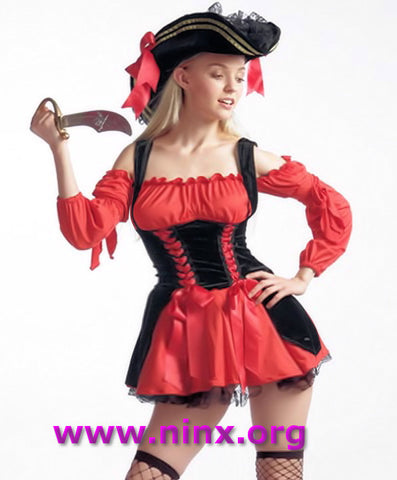 Sexy Red PIRATE COSTUME + Hat Women's Fancy Dress Costume