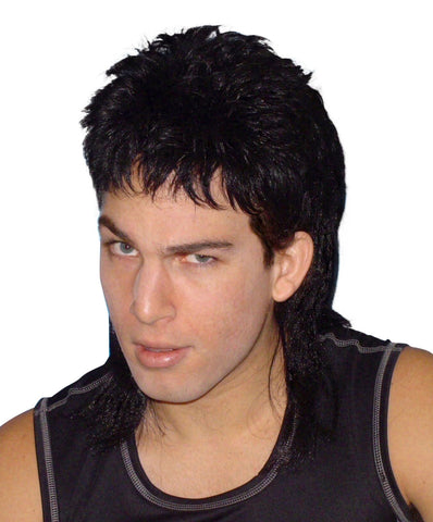 Mullet Wig Black Hair 70's 80's Bogan Men's Fancy Dress Costume Wig