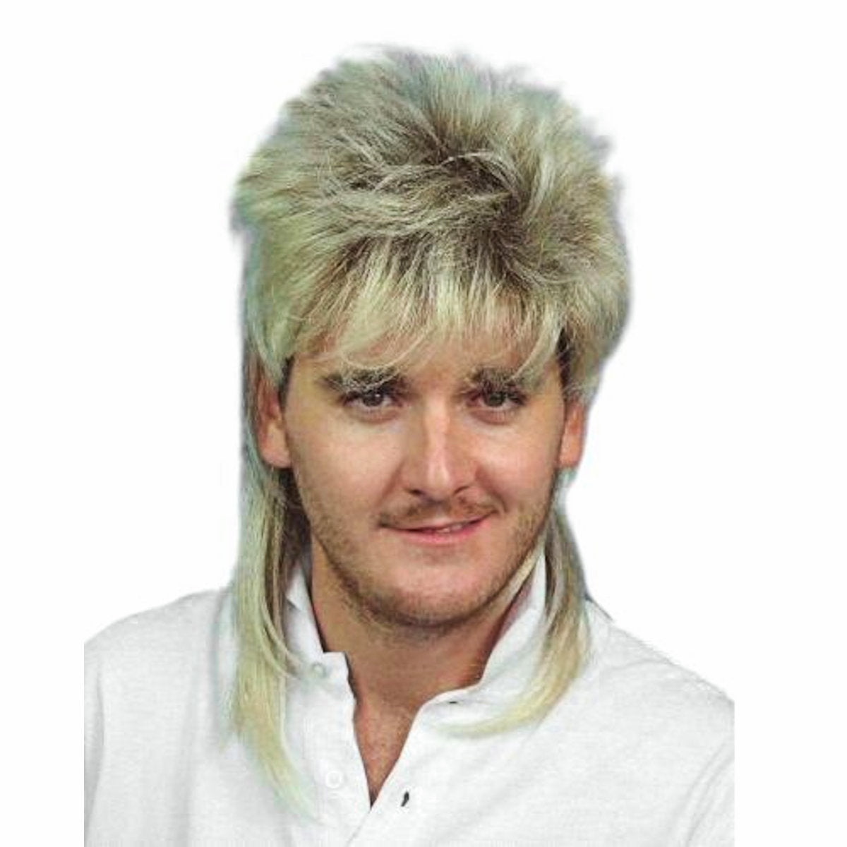 Mullet Wig Two Tone Blonde & Brown 70's 80's Bogan Men's Fancy Dress Costume Wig