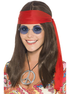 1960's Hippie Girl Brown Hair Wig + Glasses + Medallion + Headband  Hippy SET