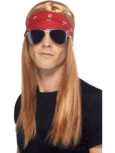 90's Rocker Kit with Wig, Bandana & Glasses Men's Fancy Dress Costume KIT