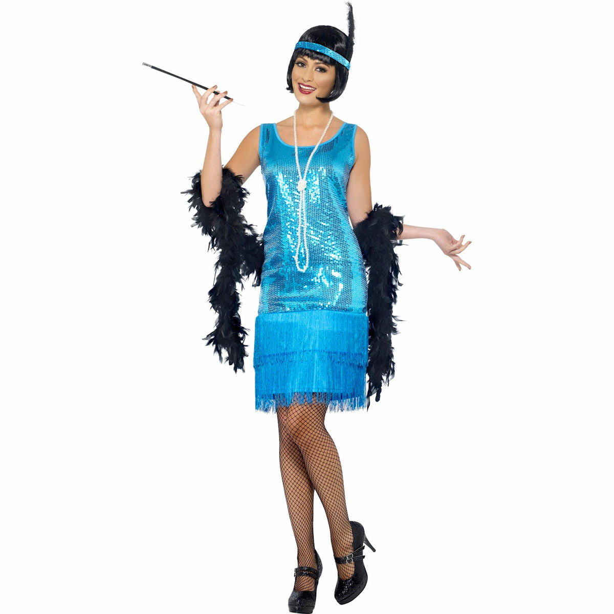 1920's Flirty Gatsby Blue Flapper Costume Includes Headband and Necklace