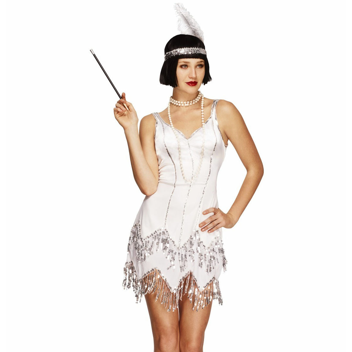 Flapper 1920's White Dazzle Gatsby Speakeasy Women's Costume Fever Genuine