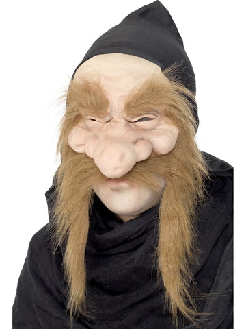 Dwarf Gold Digger Half Mask with Hood Rubber Halloween Costume Accessory