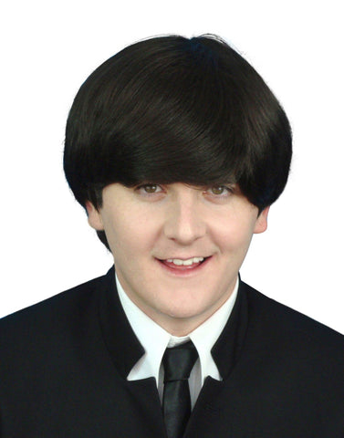 60's Mod Beatles Men's Dark Brown Fancy dress Costume wig