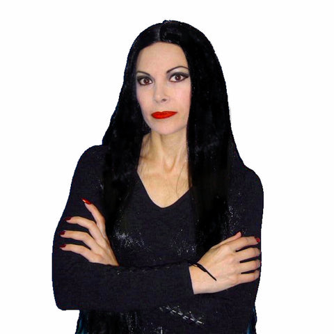 "Long Black WIG 36"" Morticia Addams Witch Cher 60's Hippie Women's Costumes"