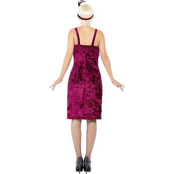 1920's Jazz Flapper Burgundy Plus Size Women's Costume Includes Headband