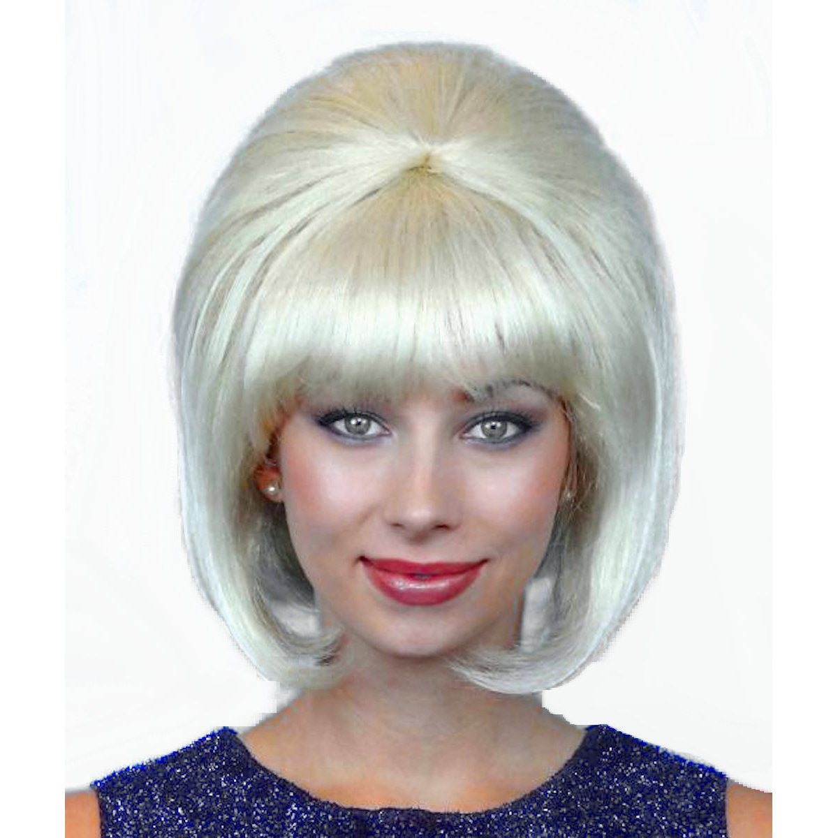 60's Beehive Hairspray Blonde Wig Women's fancy dress costume accessory