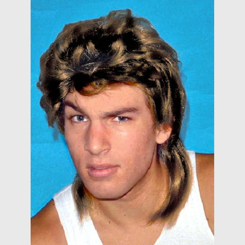 Mullet Wig Sandy Brown Hair 70's 80's Tough Guy Bogan Men's Costume Wig