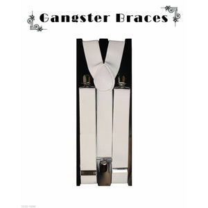 1920's Men's White Wide Gangster Braces/Suspenders Gatsby