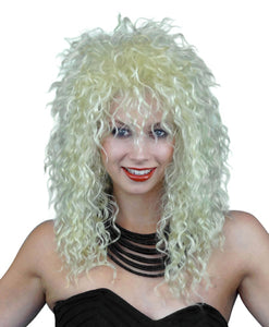 80s Rock Star Shaggy Crimped Blonde Wig Unisex Women's fancy dress costume WIG