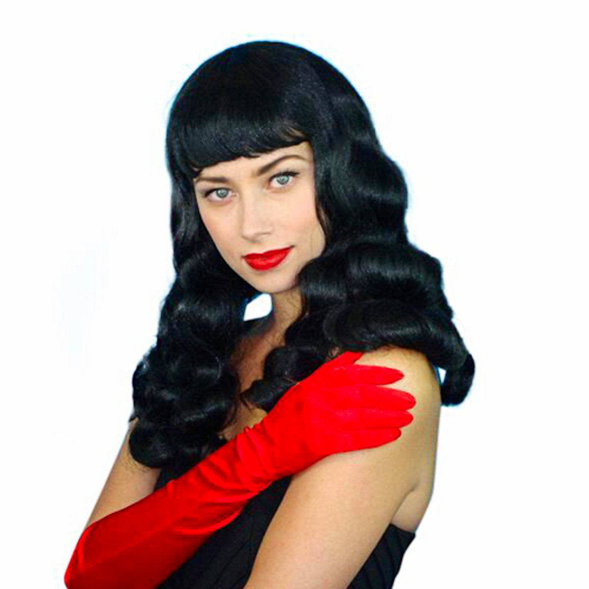 1940s Burlesque Bettie Page Long Black Hair Costume Wig